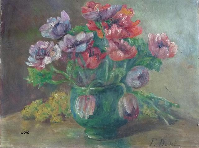 Dodel vase vert tulipes hsc 44x33
