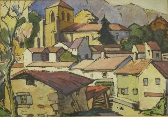 Perouse vue village 23x34 aquarelle