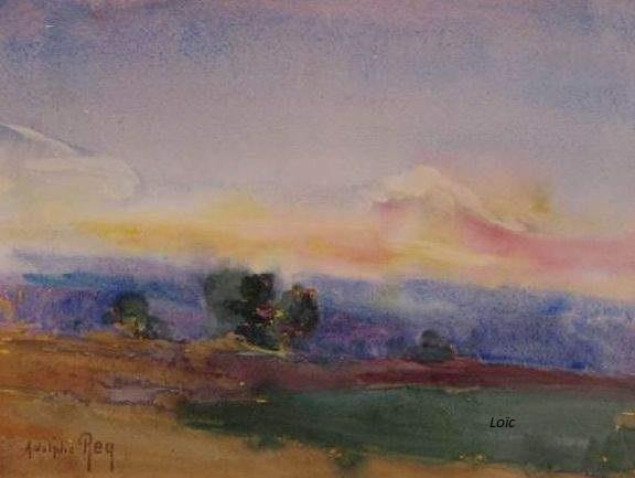 Rey 1863 1944 coucher de soleil 26x36